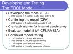 developing and testing the fqol model