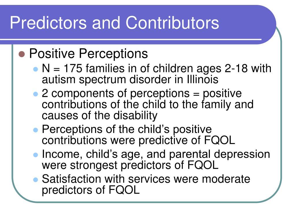 Predictors and Contributors