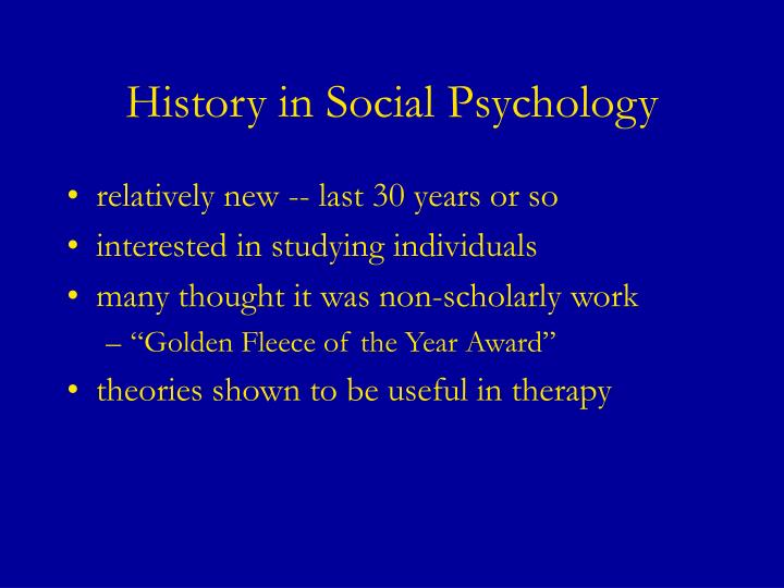 History in social psychology