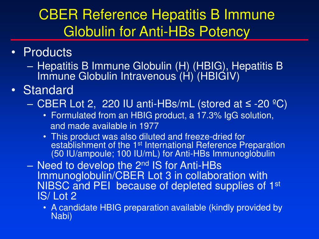 CBER Reference Hepatitis B Immune Globulin for Anti-HBs Potency