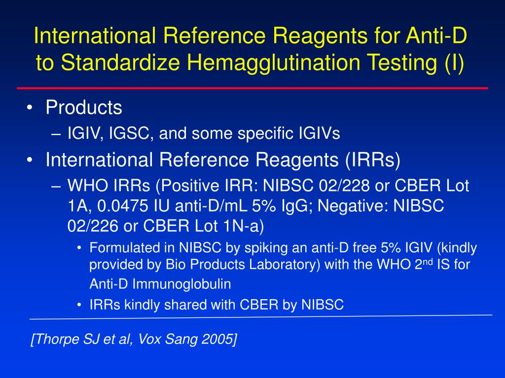 International Reference Reagents for Anti-D  to Standardize Hemagglutination Testing (I)