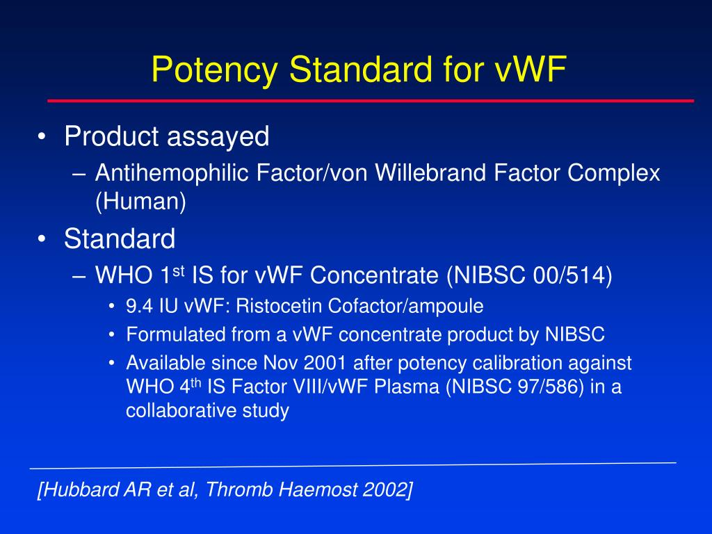 Potency Standard for vWF