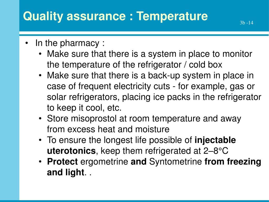 Quality assurance : Temperature