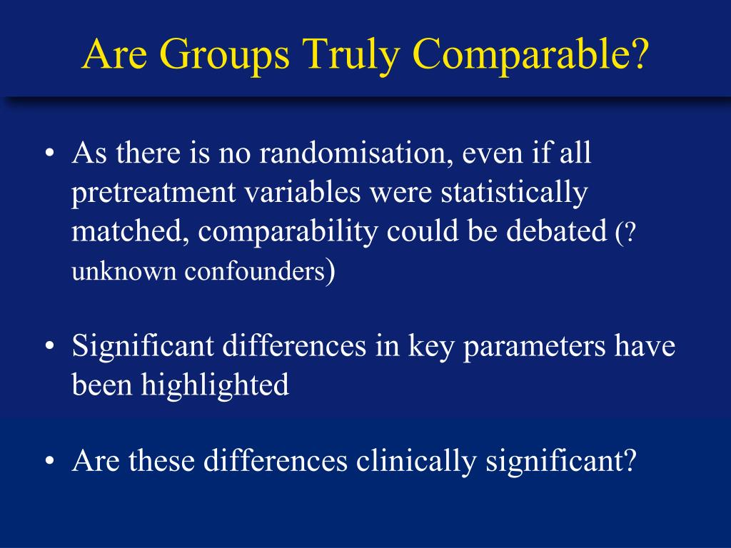 Are Groups Truly Comparable?