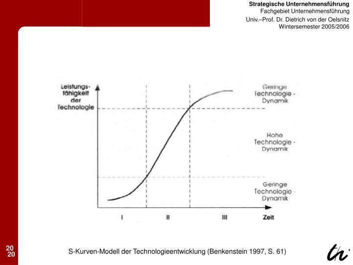 S-Kurven-Modell der Technologieentwicklung (Benkenstein 1997, S. 61)