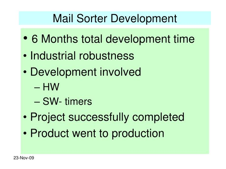Mail Sorter Development