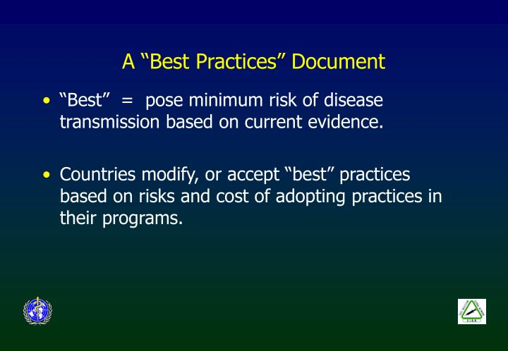 A best practices document