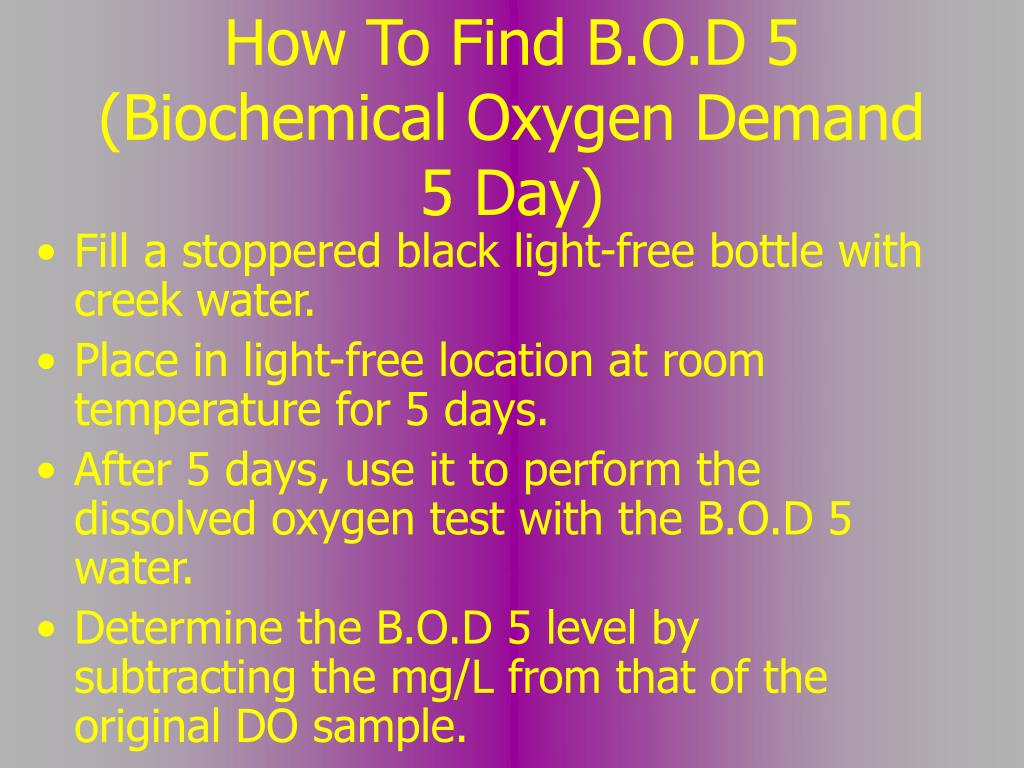 How To Find B.O.D 5