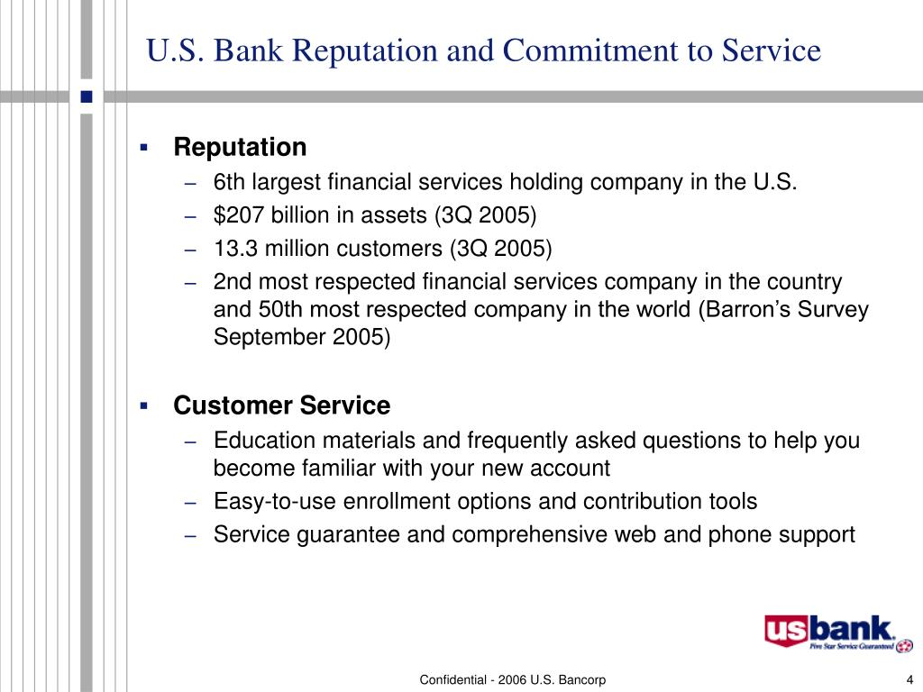 U.S. Bank Reputation and Commitment to Service