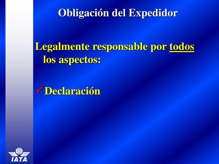 Obligación del Expedidor