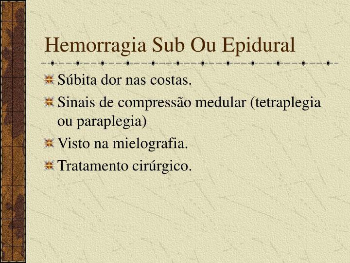 Hemorragia Sub Ou Epidural