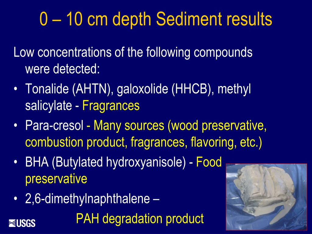 Low concentrations of the following compounds were detected: