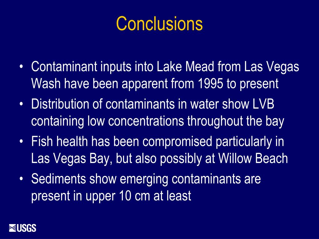 Contaminant inputs into Lake Mead from Las Vegas Wash have been apparent from 1995 to present