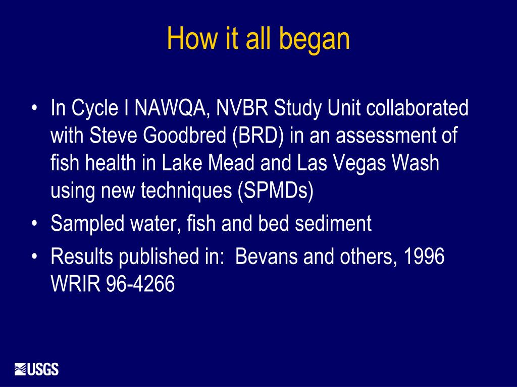 In Cycle I NAWQA, NVBR Study Unit collaborated with Steve Goodbred (BRD) in an assessment of fish health in Lake Mead and Las Vegas Wash using new techniques (SPMDs)