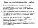 structure activity relationships sar s