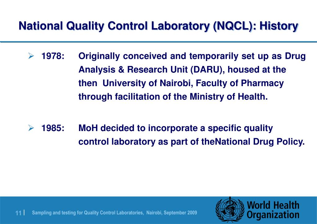 National Quality Control Laboratory (NQCL): History