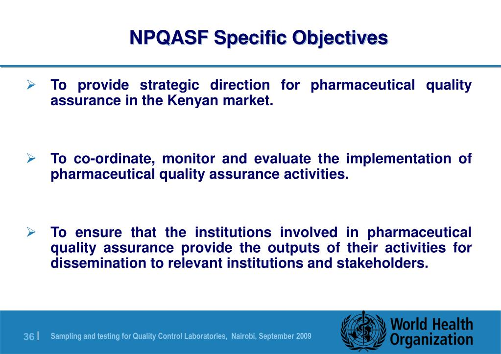 NPQASF Specific Objectives