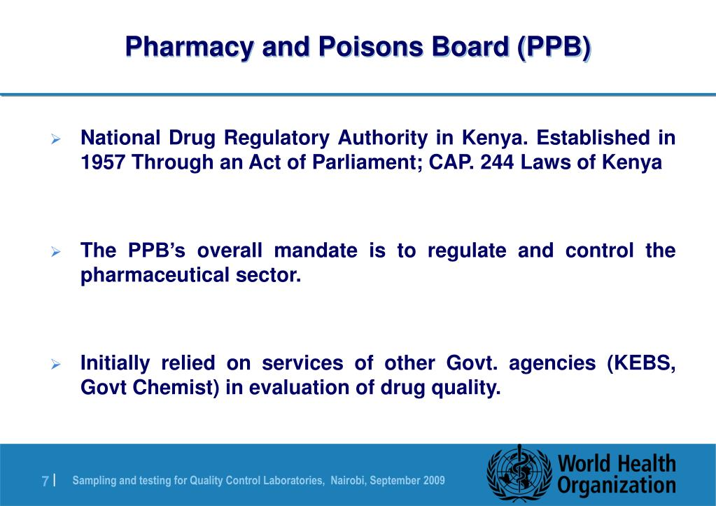 Pharmacy and Poisons Board (PPB)