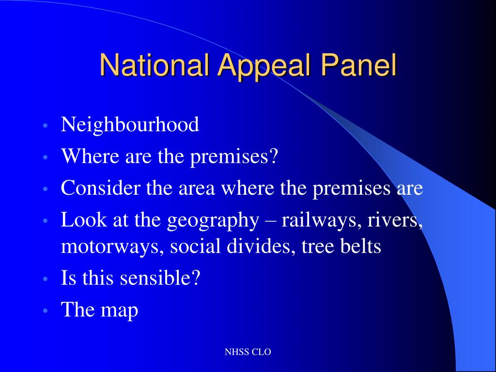 National Appeal Panel