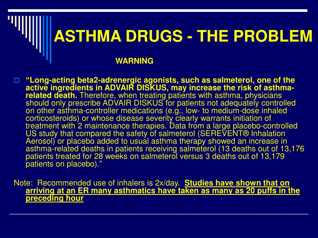 ASTHMA DRUGS - THE PROBLEM