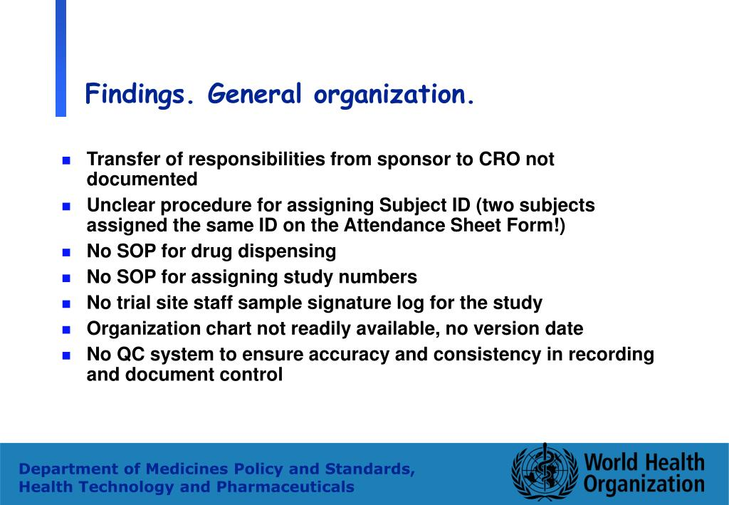 Findings. General organization.