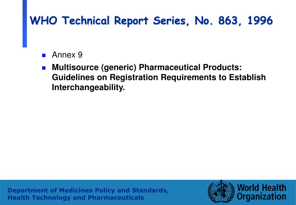 WHO Technical Report Series, No. 863, 1996