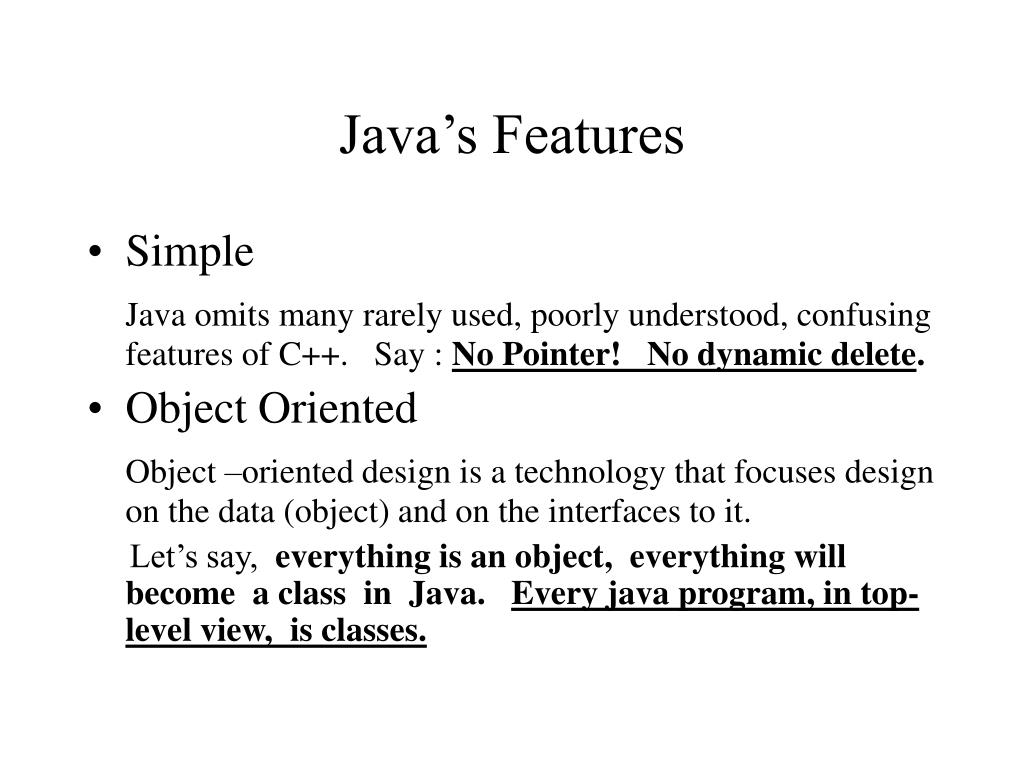 Java's Features