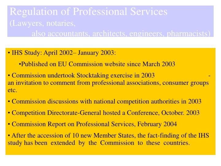 Regulation of Professional Services