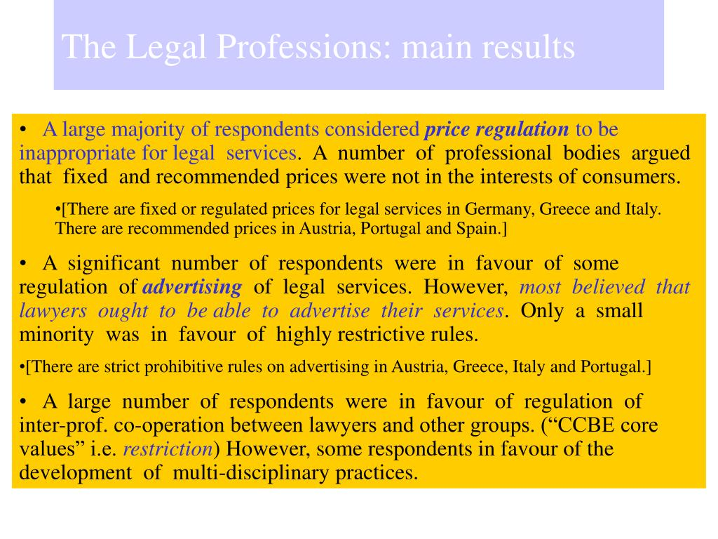 The Legal Professions: main results