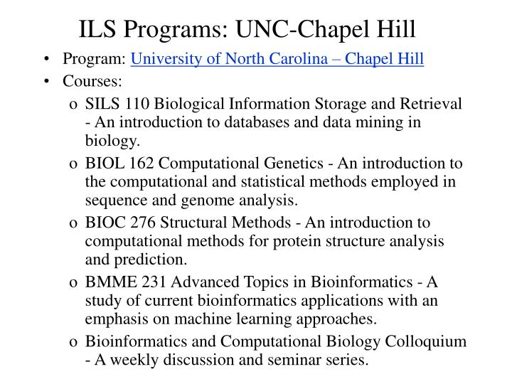 ILS Programs: UNC-Chapel Hill