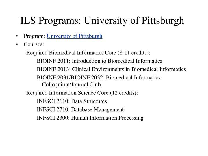 ILS Programs: University of Pittsburgh