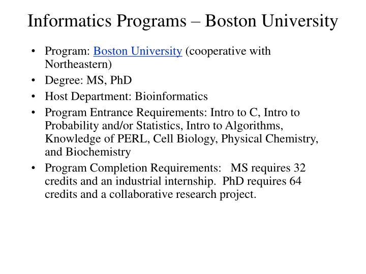 Informatics Programs – Boston University