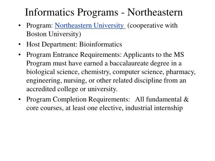 Informatics Programs - Northeastern