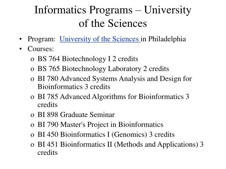 Informatics Programs – University