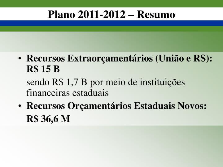 Plano 2011-2012 – Resumo
