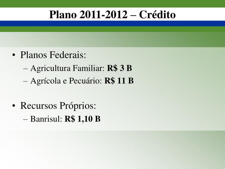 Plano 2011-2012 – Crédito