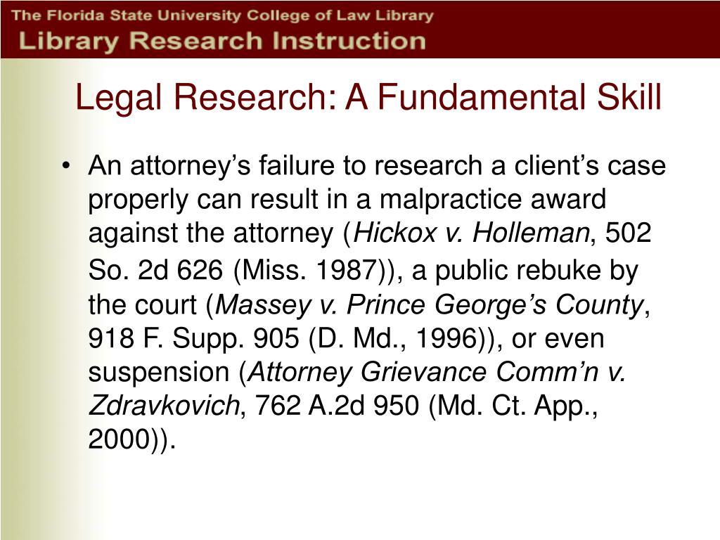 Legal Research: A Fundamental Skill