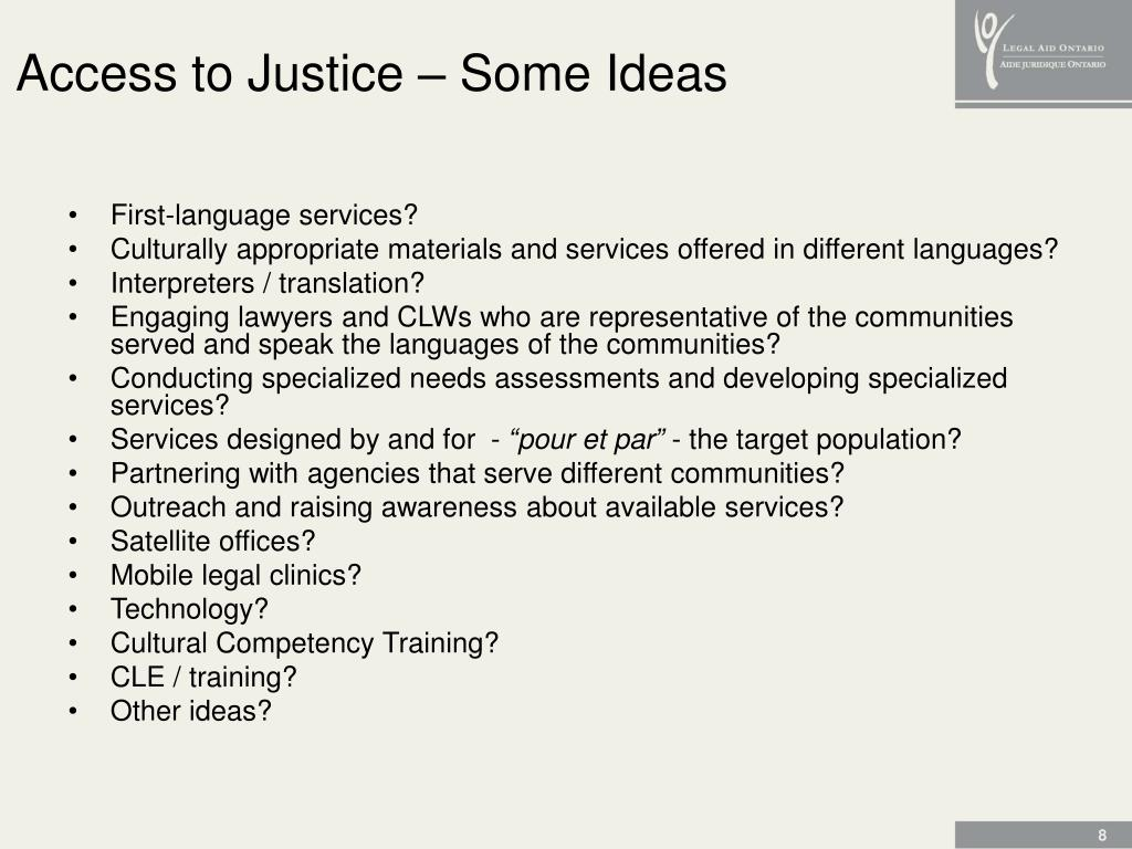 Access to Justice – Some Ideas