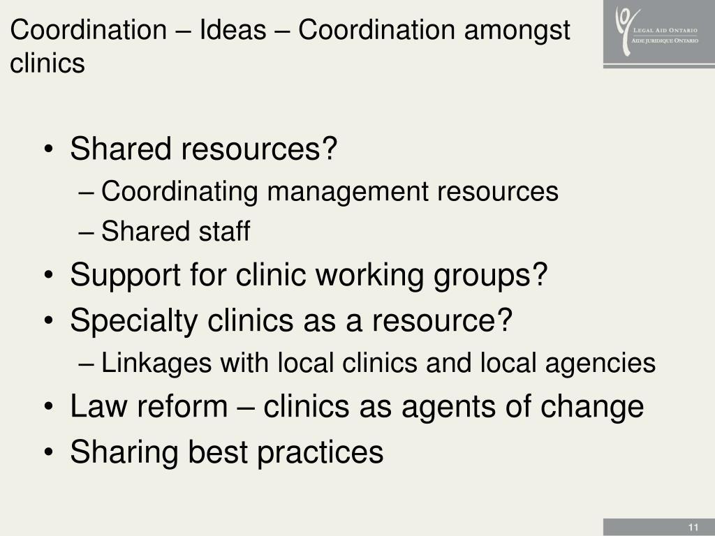 Coordination – Ideas – Coordination amongst clinics