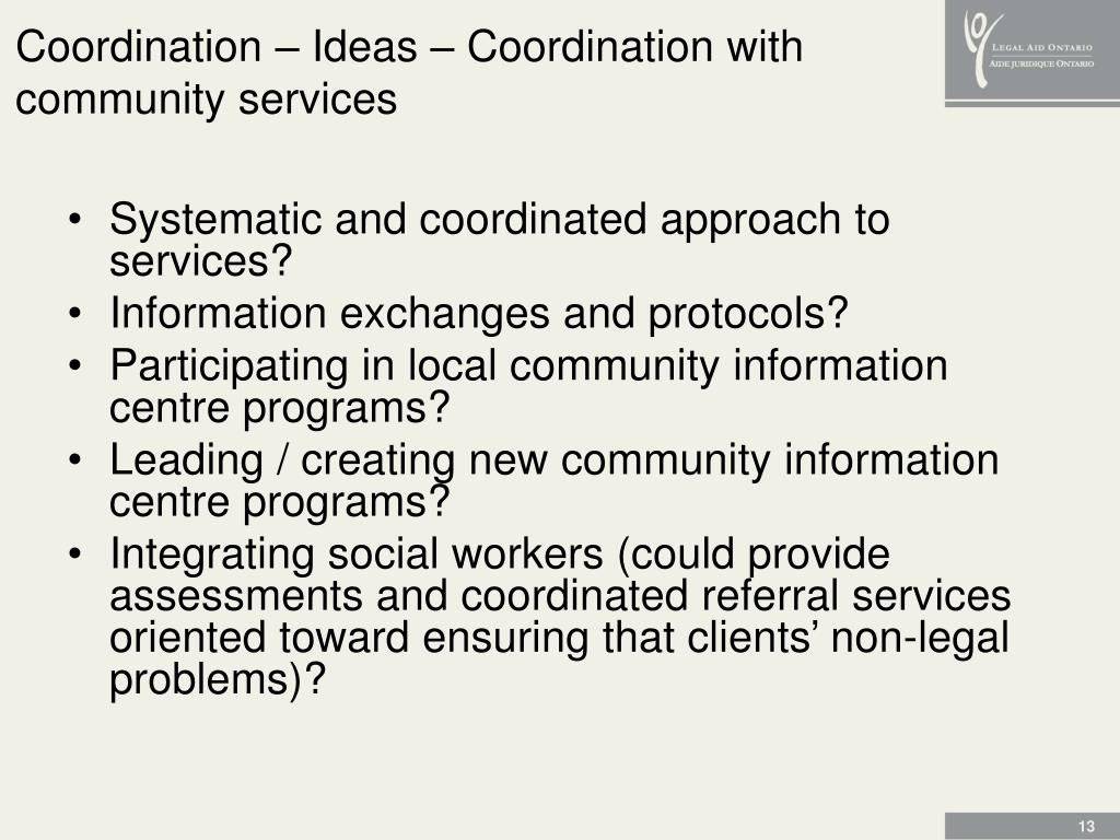 Coordination – Ideas – Coordination with community services