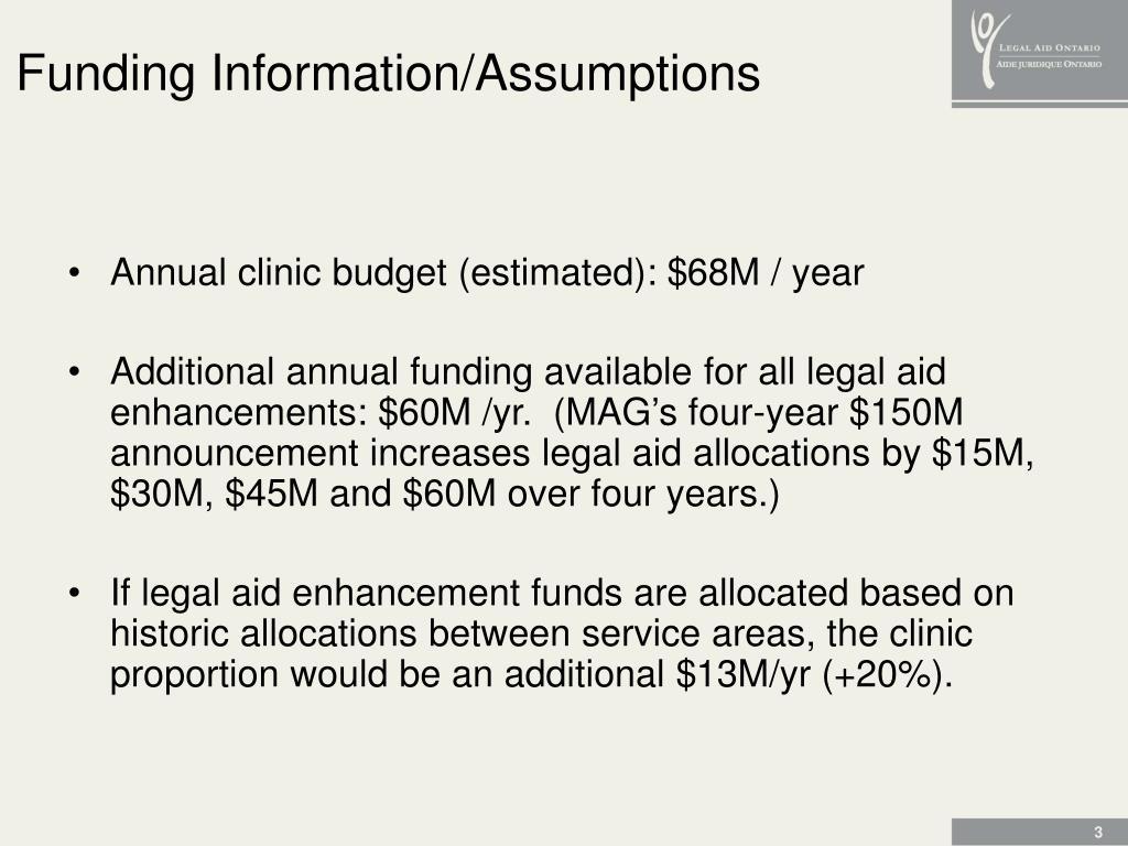 Funding Information/Assumptions