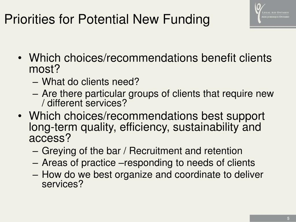 Priorities for Potential New Funding