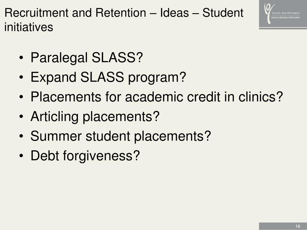 Recruitment and Retention – Ideas – Student initiatives