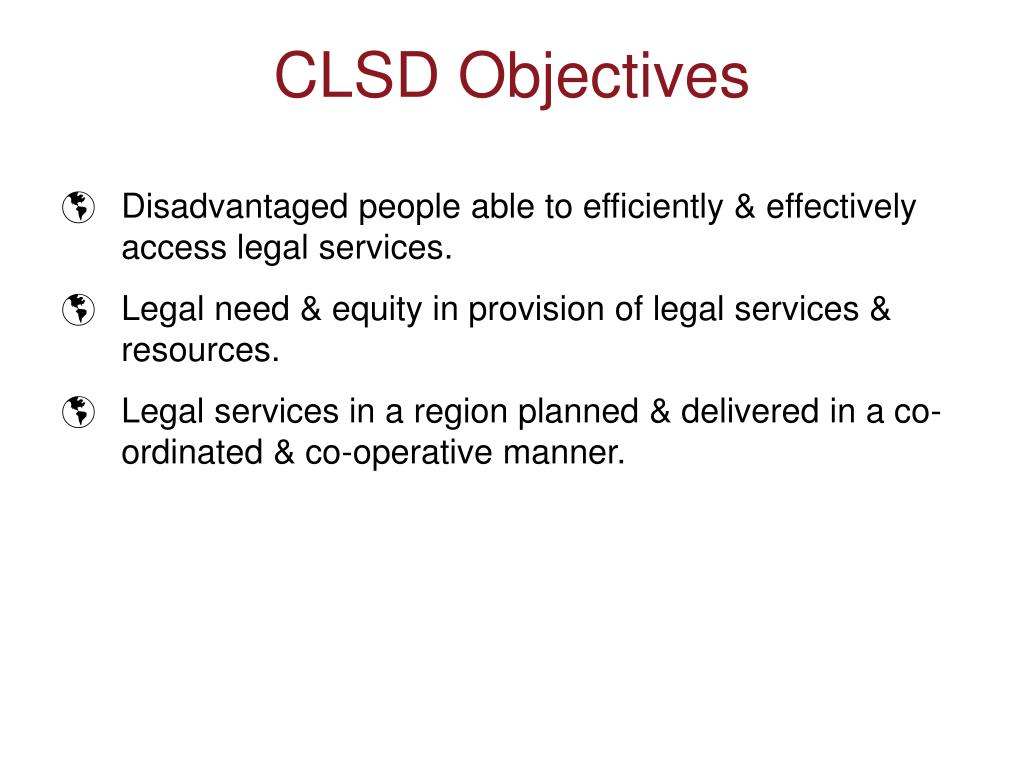 Disadvantaged people able to efficiently & effectively access legal services.