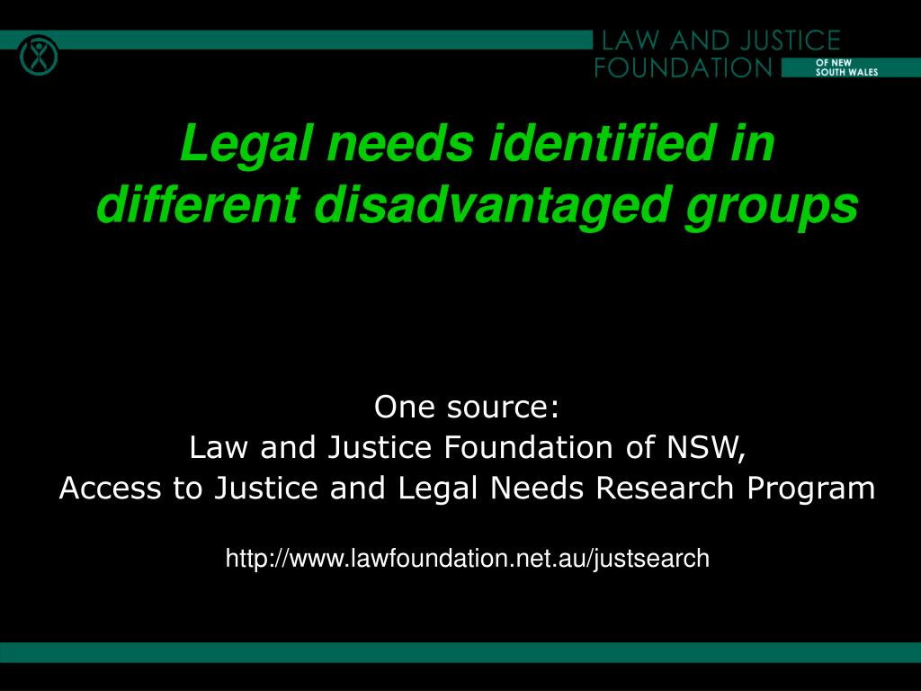 Legal needs identified in different disadvantaged groups