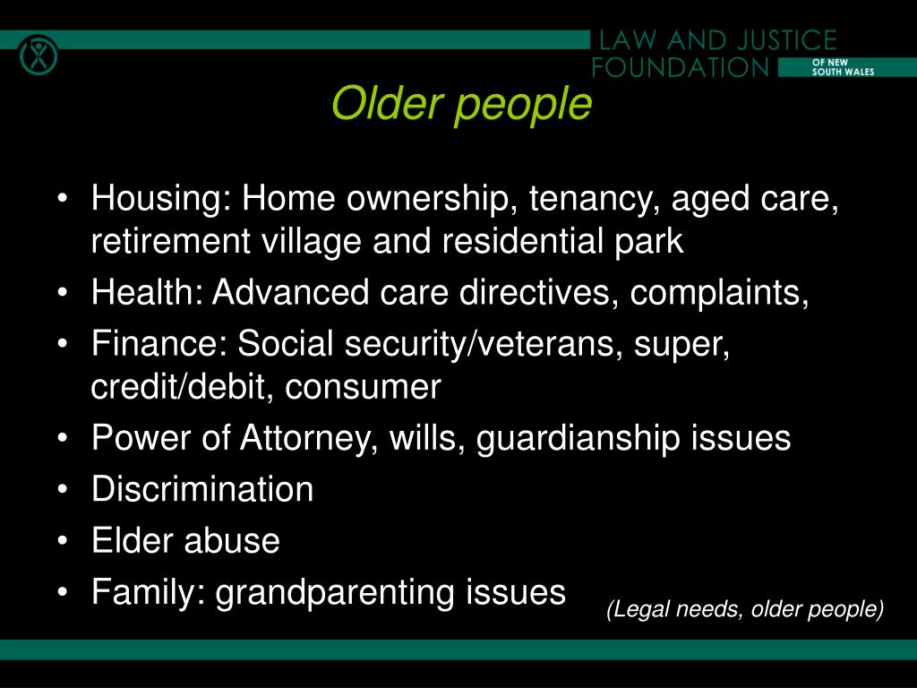 Housing: Home ownership, tenancy, aged care, retirement village and residential park