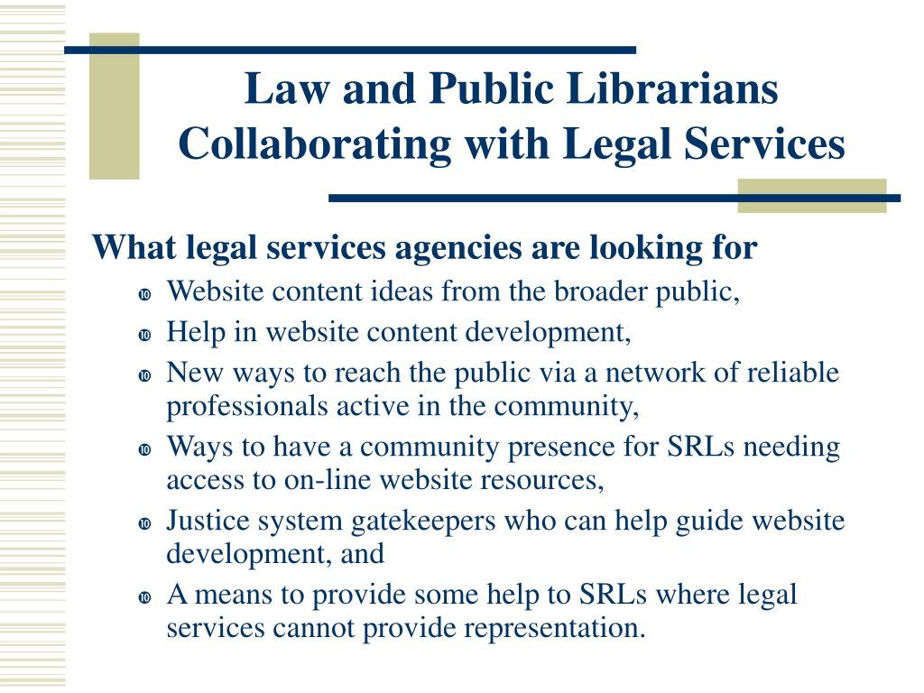 Law and Public Librarians Collaborating with Legal Services