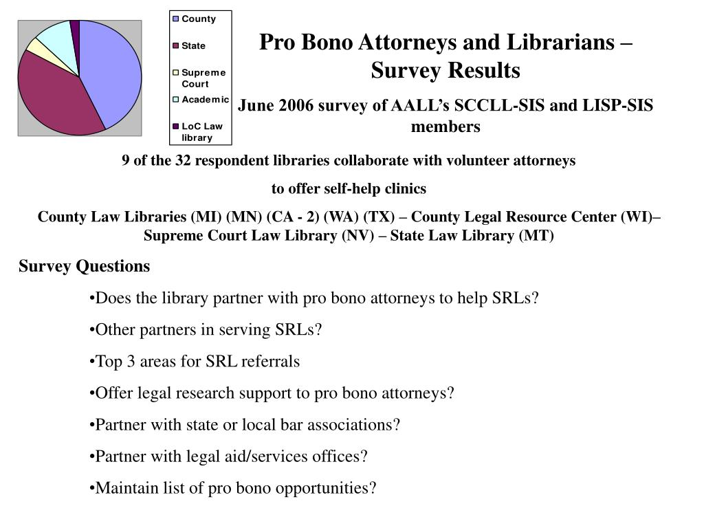Pro Bono Attorneys and Librarians – Survey Results