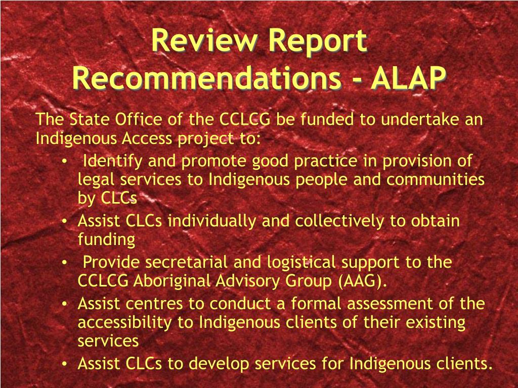 Review Report Recommendations - ALAP