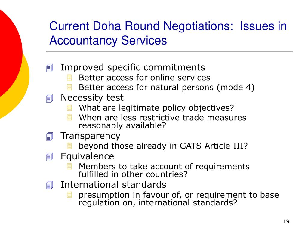 Current Doha Round Negotiations:  Issues in Accountancy Services